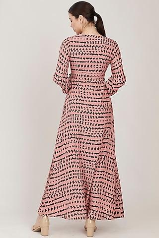 Pink & Dark Green Abstract Wrap Dress by Koai