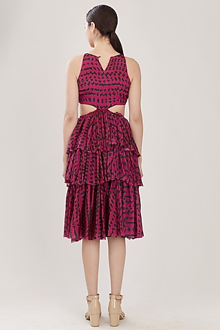 Pink & Dark Green Abstract Dress With Frills by Koai