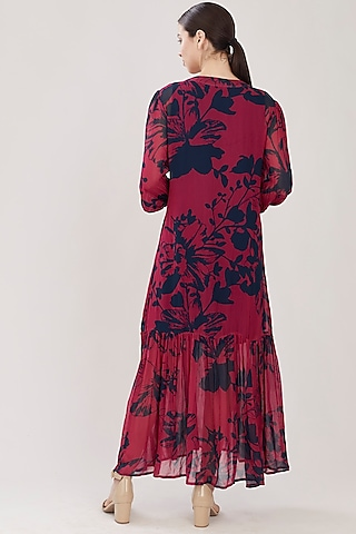 Dark Pink Floral Dress by Koai