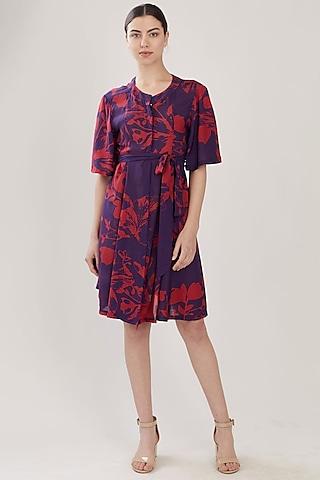 Purple & Red Floral Shirt Dress by Koai