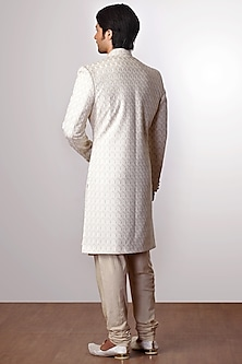 Cream Embroidered Achkan Jacket With Kurta Set by Kommal Sood