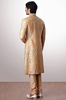 Golden Beige Embroidered Sherwani Set by Kommal Sood