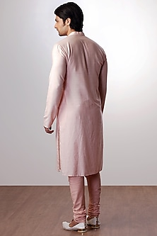 Peach Cotton Silk Kurta Set by Kommal Sood