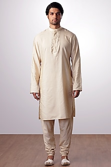 Light Beige Cotton SIlk Kurta Set by Kommal Sood