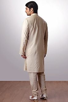 Light Beige Cotton SIlk Kurta Set by Kommal Sood