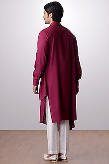 Burgundy Draped Kurta With Cream Pyjama Pants by Kommal Sood