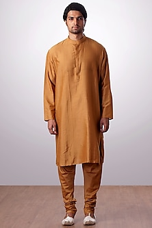 Mustard Cotton Silk Kurta Set by Kommal Sood
