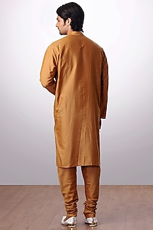 Mustard Cotton Silk Kurta Set by Kommal Sood
