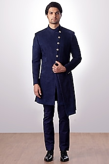 Navy Blue Achkan Jacket With Trouser Pants by Kommal Sood