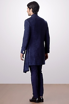 Navy Blue Achkan Jacket With Trouser Pants by Kommal Sood