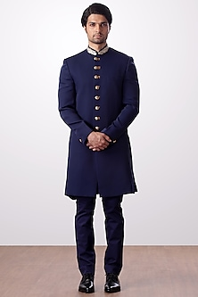 Navy Blue Embroidered Achkan Jacket With Trouser Pants by Kommal Sood