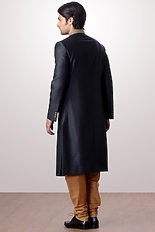 Bottle Green Achkan Jacket With Brown Trouser Pants by Kommal Sood