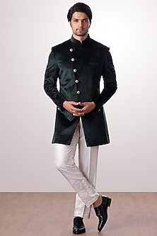 Military Green Achkan Jacket With White Trouser Pants by Kommal Sood
