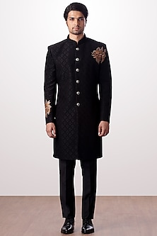 Black Embroidered Achkan Jacket With Trouser Pants by Kommal Sood