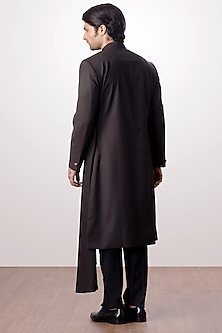 Black Achkan Jacket With Trouser Pants by Kommal Sood