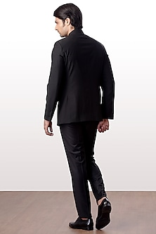 Black Bandhgala Jacket With Trouser Pants by Kommal Sood