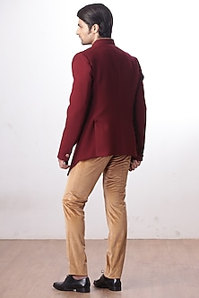 Burgundy Bandhgala Jacket With Tan Trouser Pants by Kommal Sood