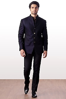 Navy Blue Embroidered Bandhgala Jacket With Trouser Pants by Kommal Sood