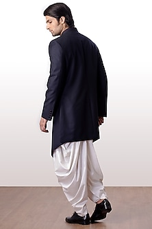 Navy Blue Achkan Jacket With Dhoti Pants by Kommal Sood
