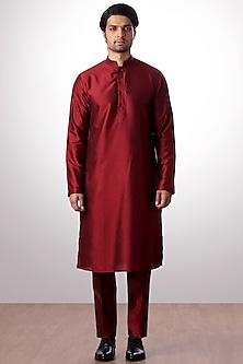 Burgundy Cotton SIlk Kurta Set by Kommal Sood