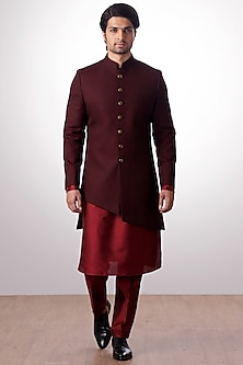 Burgundy Achkan Jacket With Kurta Set by Kommal Sood