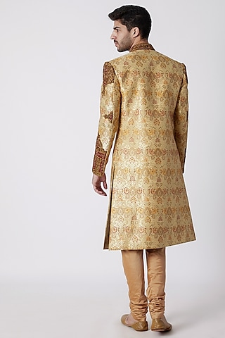 Beige Embroidered Brocade Sherwani Set by Kommal Sood