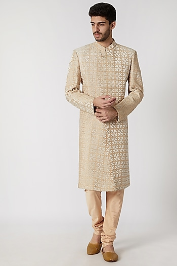 Cream & Beige Embossed Sherwani Set by Kommal Sood