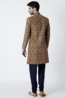 Navy Blue Embroidered Sherwani Set by Kommal Sood