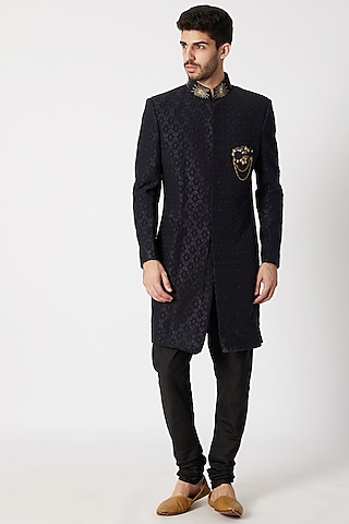Navy Blue & Black Embroidered Sherwani Set by Kommal Sood
