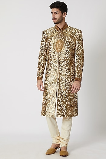 Cream Embroidered Printed Sherwani Set by Kommal Sood