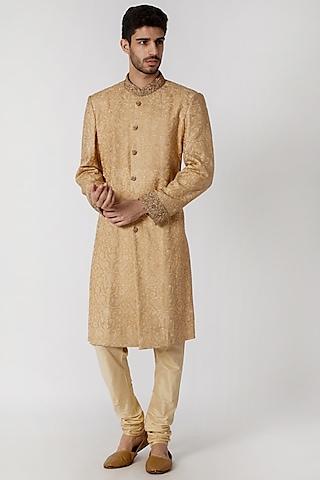 Beige Embroidered Sherwani Set by Kommal Sood