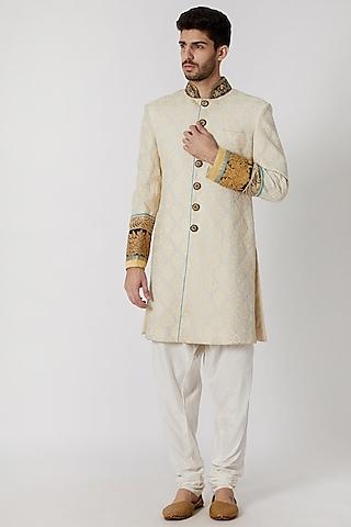 Cream Embroidered Sherwani Set by Kommal Sood