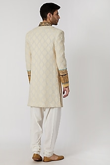 Cream Embroidered Sherwani Set by Kommal Sood