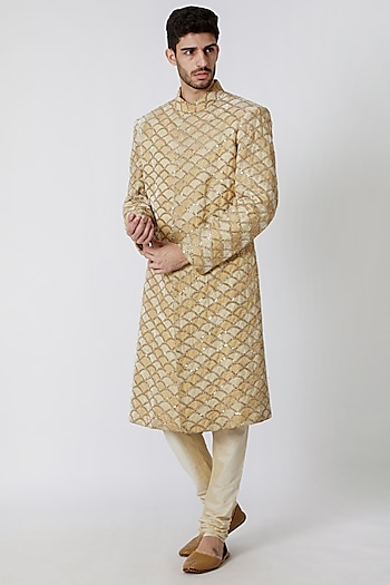 Beige & Cream Embroidered Sherwani Set by Kommal Sood