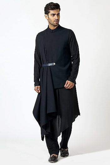Black Kurta Set With Bundi Waist Coat by Kommal Sood