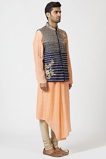 Navy Blue & Pink Embroidered Kurta Set by Kommal Sood