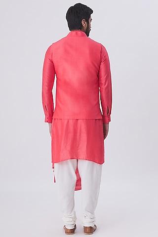 Coral & Beige Kurta Set With Waist Coat by Kommal Sood