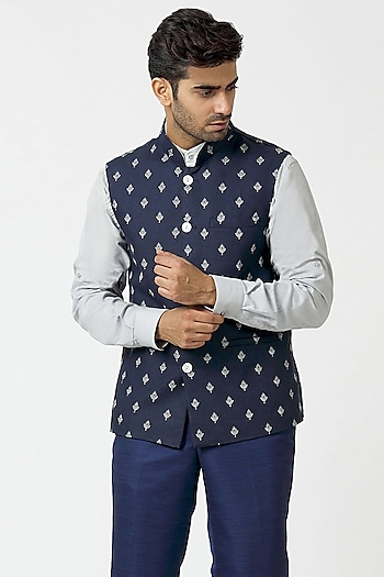 Navy Blue & Grey Embroidered Kurta Set With Waistcoat by Kommal Sood