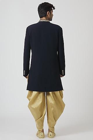 Navy Blue & Beige Embroidered Kurta Set With Waist Coat by Kommal Sood