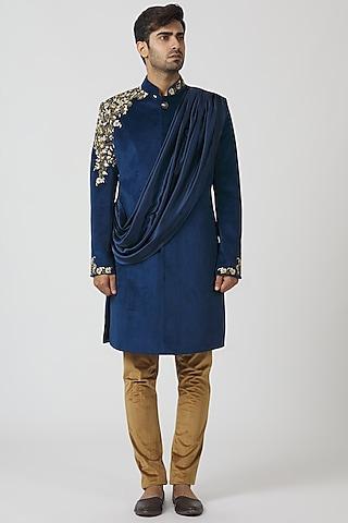 Midnight Blue & Camel Brown Embroidered Kurta Set by Kommal Sood