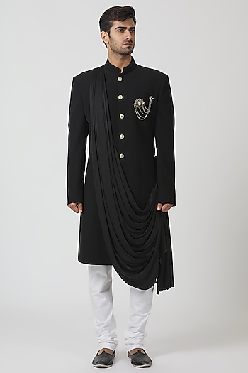 Black Draped Achkan Kurta Set by Kommal Sood