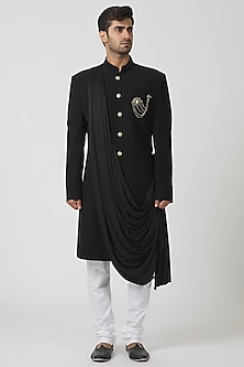 Black Draped Achkan Kurta Set by Kommal Sood
