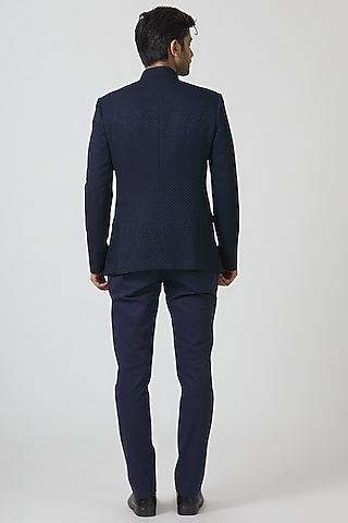 Navy Blue Embroidered Jacket Set by Kommal Sood