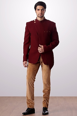 Burgundy & Camel Layered Jacket Set by Kommal Sood