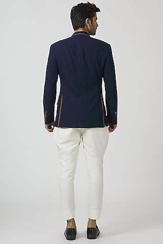 Navy Blue & Camel Embroidered Blazer Set by Kommal Sood