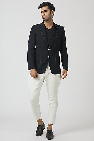 Navy Blue & White Embroidered Blazer Set by Kommal Sood