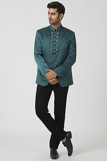 Teal Blue & Black Antique Jacket Set by Kommal Sood