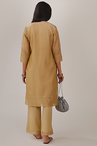 Olive Green Embroidered Kurta Set by Kora