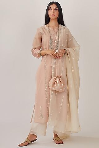 Blush Pink Hand Block Printed Kurta Set by Kora
