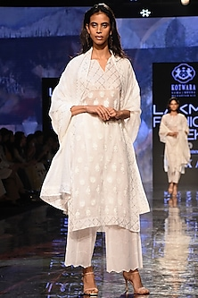 White Embroidered Kurta Set by House of Kotwara